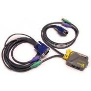2 Port Compact KVM Built-in Cables, PS2