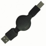 0.8m USB A plug to USB B plug Retractable Cable