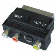 Scart to 3xRCA Switchable Gold Adaptor